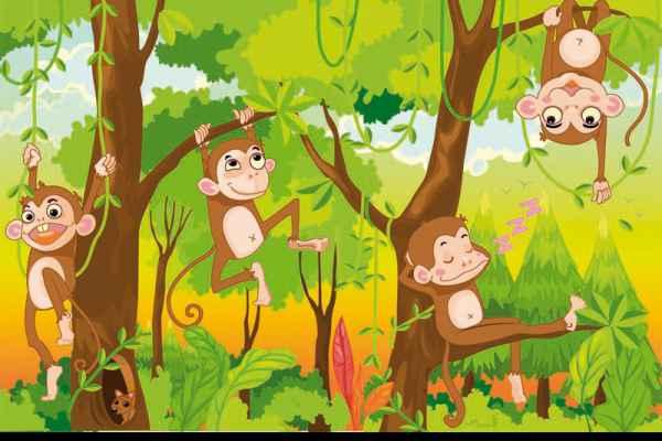 Carta da parati Scimmiette