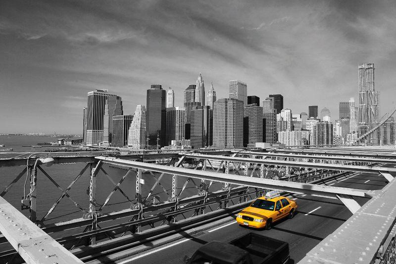 Carta da parati New York, Brooklyn Bridge Taxi 1
