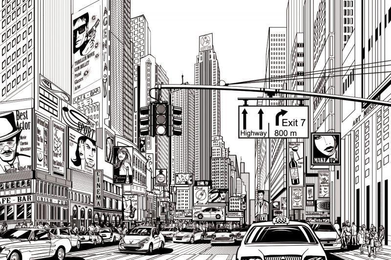 carta da parati disegno new york personalizzazione