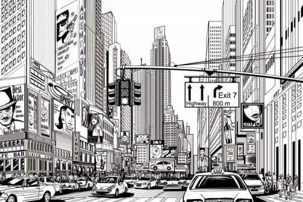 Carta da parati Disegno New York