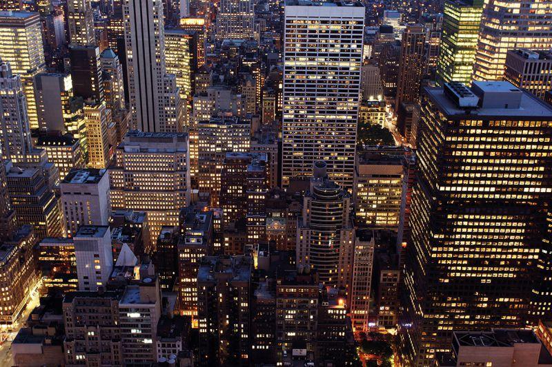 Carta Da Parati Classica Toile Primavera: Carta Da Parati NEW YORK, GRATTACIELI NIGHT