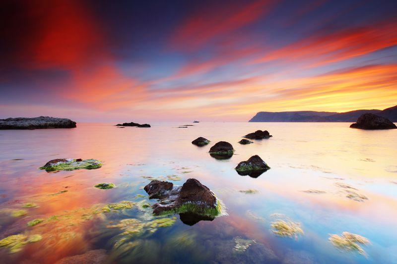 Carta da parati tramonto estivo al mare personalizzazione for Carta da parati casa al mare