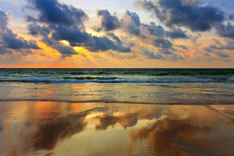 Carta da parati Tramonto su spiaggia tropicale