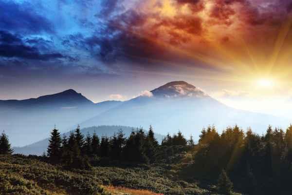 Carta da parati Tramonto in montagna